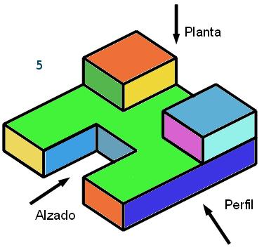 Sistema di drico vista de figuras for Plano de planta dibujo tecnico