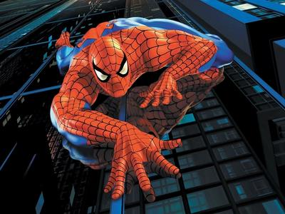 spiderman climbing a building